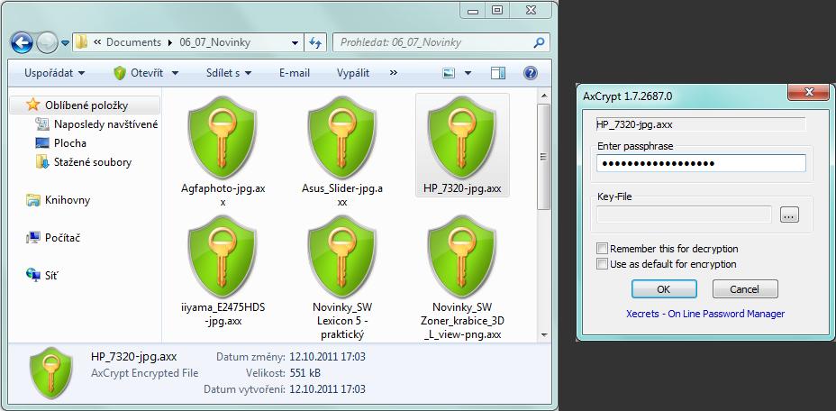 AxCrypt - přístup k zaheslovanému souboru