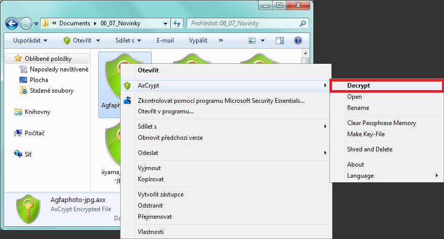 AxCrypt - odebrání ochrany heslem