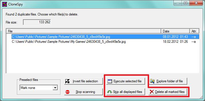 CloneSpy - mazání duplicit