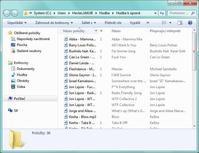Průzkumník Windows - MP3 soubory k úpravě v jedné složce