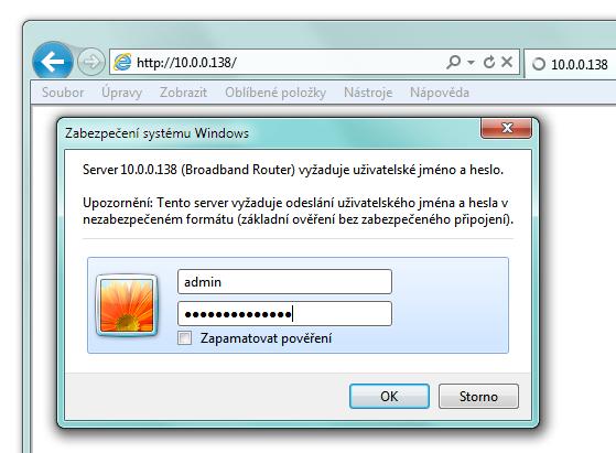 Přístup ke konfiguračnímu rozhraní routeru