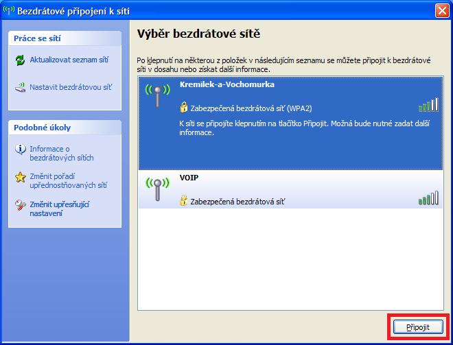Připojení v Wi-Fi síti - Windows XP