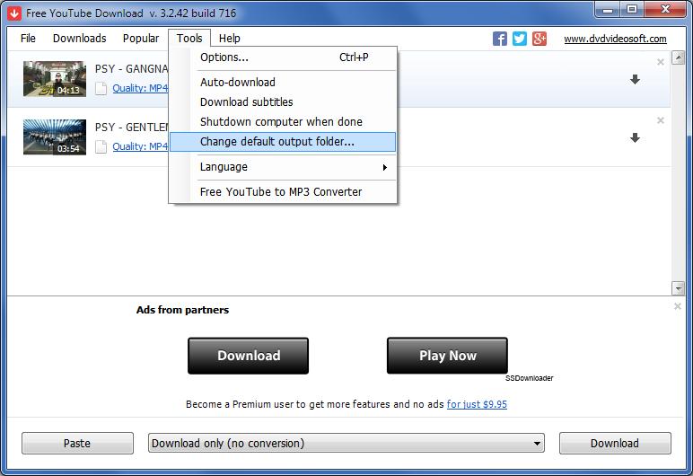 Free YouTube Download - nastavení výstupní složky